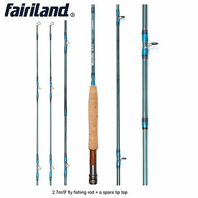 Portable Fly Fishing Rod Carbon L/R Handle Travel Fishing Poles W/ Spare Tip Top • 46.58$