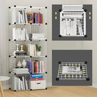 AU46.04 • Buy 8 Cube Wire Grid Unit DIY Shelving Bookcase Shelf Storage Display Cabinet