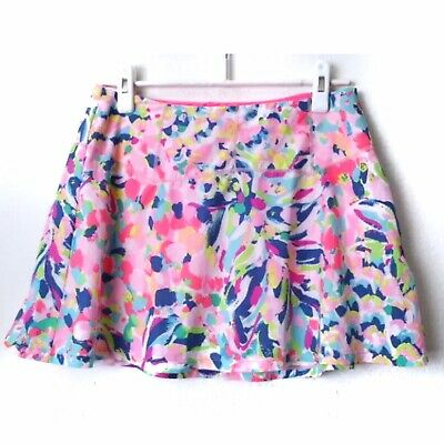 Lilly Pulitzer Luxletic Athleisure Pink Watercolor Skirt Skort With Shorts SZ M  • 40$