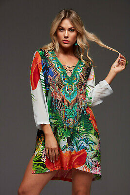 AU249.99 • Buy New CZARINA ESCAPE TO PARADISE EMBELLISHED LACE UP KAFTAN TOP XL 16