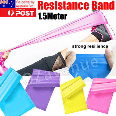 AU11.95 • Buy 1.5m Elastic Yoga Stretch Resistance Bands Exercise Fitness Band Theraband