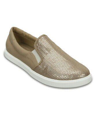 NEW Women's Crocs Gold Citilane Sequin Slip On Sneaker Loafers  Flat Shoes 7 8 9 • 24.99$