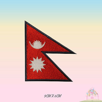 Nepal National Flag Embroidered Iron On Patch Sew On Badge Applique • 2.29£
