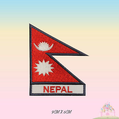 Nepal National Flag With Name Embroidered Iron On Patch Sew On Badge Applique • 2.29£