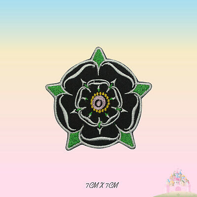 £2.29 • Buy Yorkshire Black Rose Embroidered Iron On Patch Sew On Badge Applique