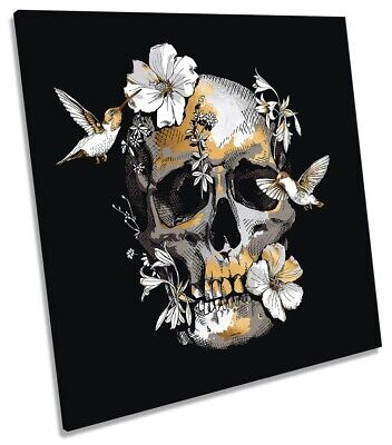 Skull Humming Birds Floral Print CANVAS WALL ART Square Picture Black • 24.99£