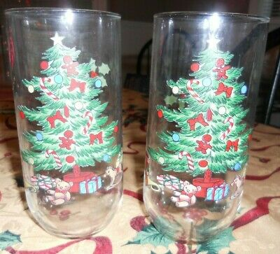 $29.99 • Buy Set Of 8 Vintage Christmas Glasses Tienshan Holiday Hostess Tree Presents