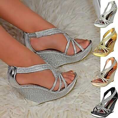 £28.88 • Buy Women Platform Wedge High Heel Diamante Strappy Party Evening Shoes Sandals Size