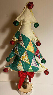 $27.50 • Buy Handmade Repurposed Christmas Tree Vintage Quilt   Spindle Birch Base  NEW