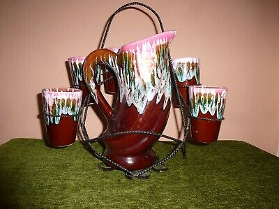 £22.99 • Buy Vintage French Vallauris Drip Glaze Lemonade Set With Stand