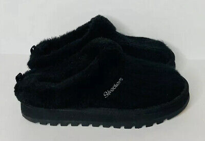 Womens Skechers Black Cable Knit Sweater Faux Fur Lined Slipper Clogs 46346 Sz 6 • 18.08£
