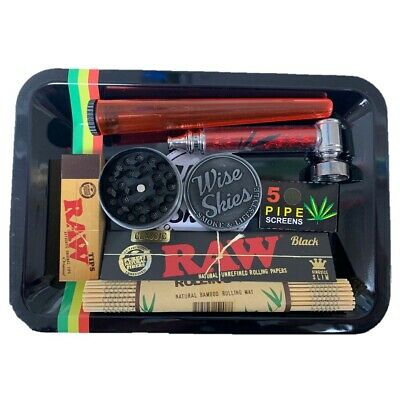 Smoking Rolling Tray Set Grinder Tube Pipe Raw Tips Raw Black Rolling Papers UK • 13.99£