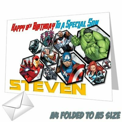 Personalised Avengers Birthday Card Hulk Thor Ironman Any NAME, AGE Or RELATION • 3.49£