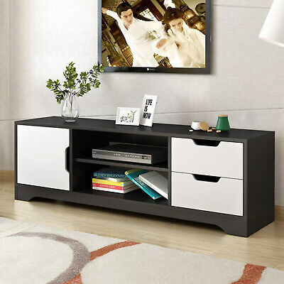 Modern TV Unit Display Stand Cabinet Console 2 Drawer Shelves Storage Furniture • 66.88£