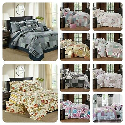 £27.45 • Buy 3 Piece Quilted Patchwork Bedspread Throw Single Double King & Super King Size
