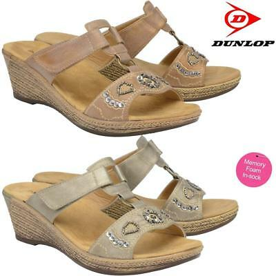 Ladies Memory Foam Wedge Heel Walking Flip Flops Summer Strappy Sandals Shoes • 12.95£