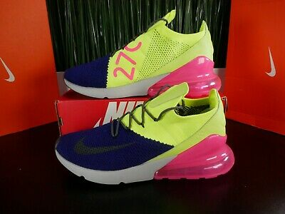 Nike Air Max 270 Flyknit Purple/Volt Mens Shoes AO1023-501 Size 9.5-13 • 79.99$