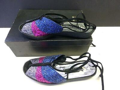 Vintage MARIO VALENTINO Butterfly Sequin Lleather Ladies Shoes Flat Italy Sz 6.5 • 29.99$