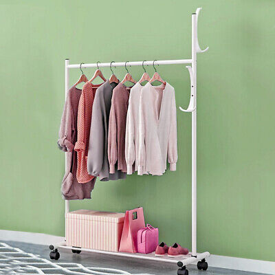 Heavy Duty Metal Clothes Hanging Rail Clothing Coat Stand With Shoe Rack Shelf • 14.29£