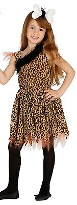 £15.99 • Buy Girls Leopard Print Crazy Cave Girl Cavewoman Fancy Dress Costume Outfit 5-12yrs