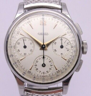$ CDN4480.56 • Buy VINTAGE Jaeger Mens 35mm Steel Chronograph Watch French Fab Suisse Universal 285