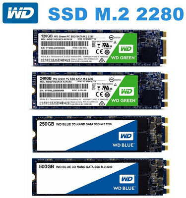 AU49.95 • Buy SSD M.2 120GB 240GB 250GB 500GB 480GB WD Green Blue 2280 SATA Solid State Drive