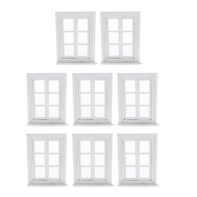 Lots 8 1:12 Miniature White Window Dollhouse DIY Ornament Toddlers Play Set • 31.08£