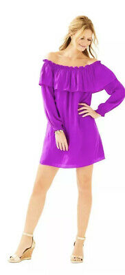 NWT Lilly Pulitzer Purple DEE DEE Off The Shoulder Dress Sz M $178 • 34.99$