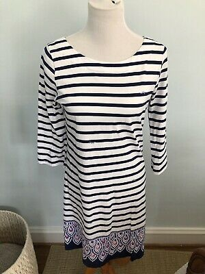 Lilly Pulitzer Bay Dress In Serene Stripe Sz M Navy White • 35$