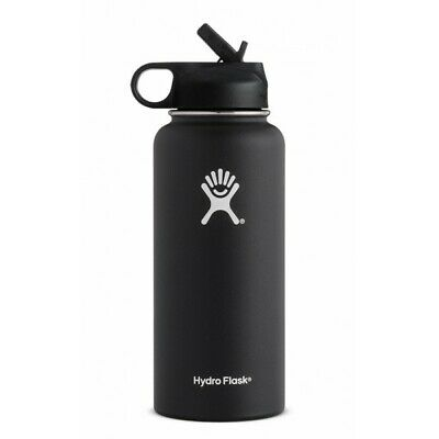 Hydro Flask Wide Mouth Stainless Steel Bottle 32oz W/ Straw Lid - BLACK • 31$