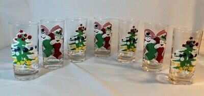 $ CDN34.09 • Buy Lot Of 7 Vintage 60's 5  Drinking Tumblers Glasses 4- Christmas Trees 3- Snowman
