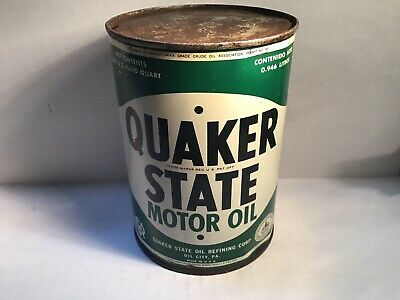 Vintage Quaker State Oil Can Quart Metal Gas Rare Handy Sign Fisk Cities Oilzum • 39.95$