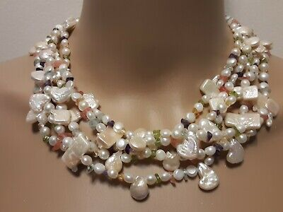 $129 • Buy 20  OOAK Necklace Gorgeous Mabe Pearls Multicolored Semiprecious Stones Silver