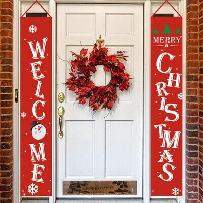 $12.48 • Buy Christmas Banner Christmas Hanging Sign Indoor Outdoor Door Display Decorations-