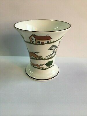 Coalport Hunting Scene Trumpet Vase Fox Hounds Horse Riders Decorative Vase • 14£