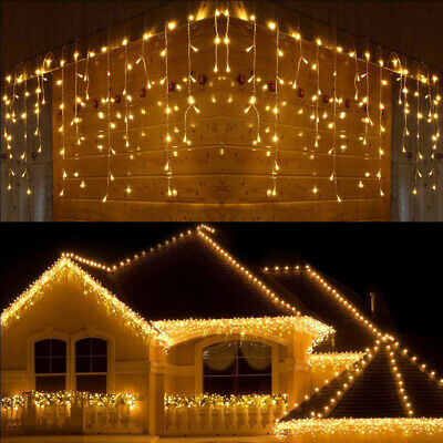13-130FT Curtain Icicle Lights Xmas 96 LED Fairy Christmas Indoor Outdoor Decor • 9.99$