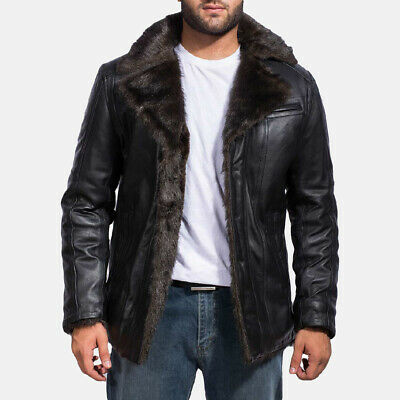 £159.99 • Buy Furcliff Genuine Black Sheep Leather Coat New Style Fully Fur Lined Men's Jacket