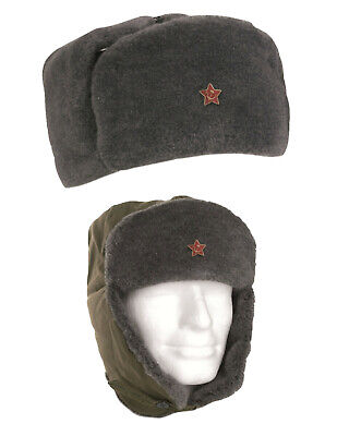 £13.99 • Buy Russian Army Trapper Genuine Soviet USSR Red Star Winter Olive Soldier Trapper