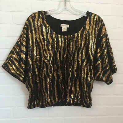 $14.40 • Buy Sans Souci Women's Sequin Crop Top Sz M Dolmen Short Sleeve Black Gold Party