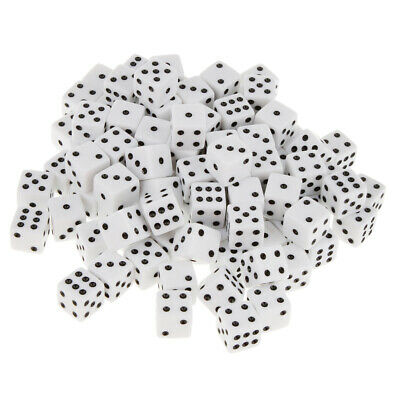 AU21 • Buy 100 Pack Opaque Six Sided Dice D6 Square Dice 16mm For Board Game Toys White