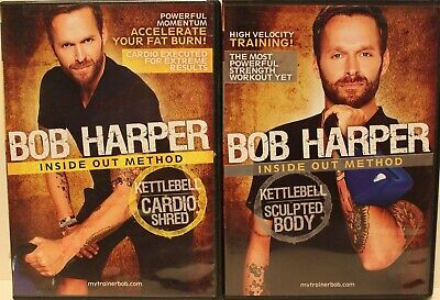 2 Bob Harper Workout DVD Lot Kettlebell Sculpted Body Cardio Shred Exercise • 18.87£