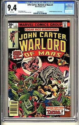 John Carter, Warlord Of Mars #1  CGC 9.4 WP NM  Marvel Comics 1977 1st App  • 2.25$