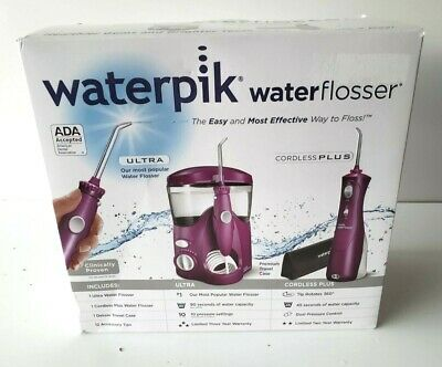 View Details WATERPIK ULTRA WATER FLOSSER KIT W/ CORDLESS PLUS TRAVEL CASE 12 TIPS  Pink • 40.00$
