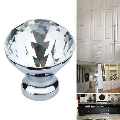 10 PCS Clear Crystal Diamond Glass Cabinet Drawer Door Knobs Kitchen Cupboard • 6.49£