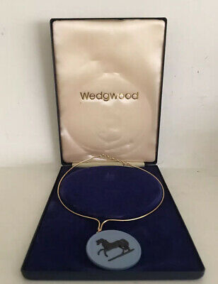 Wedgwood Jasperware Necklace Horse Pendant With Box Vintage Rare Made In England • 110£