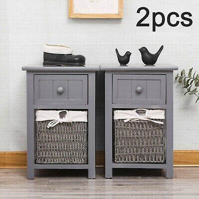 2PC Modern Bedside Tables Night Stand Cabinet Storage Drawer Wicker Basket Stand • 45.99£