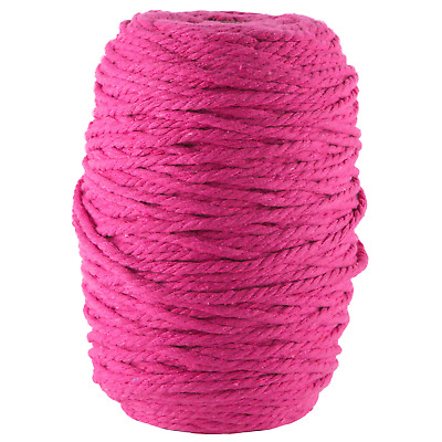 AU45 • Buy Bright Pink 4mm Macrame 3 Strand Rope 1kg 180m Coloured String Ply Cotton Cord