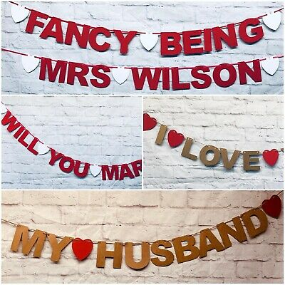 Personalised Proposal Wedding Engagement Banner Decs Bunting Leap Year LGBT • 4.49£