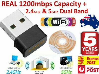 AU16.88 • Buy 1200 Mbps FAST Wireless WiFi Network Receiver Adapter 5GHz Dual Band Dongle