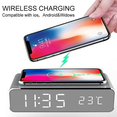 AU25.64 • Buy Electric Led Alarm Clock With Phone Wireless Charger Thermo Desktop Digital AU